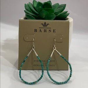 BARSE 925 Silver & Stone Bead Teardrop Earrings!